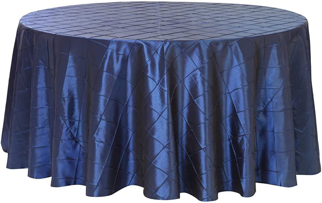 Your Chair Covers 132 Inch Pintuck Taffeta Round Tablecloth Navy Blue Round Table Linens For 6 Ft Round Tables