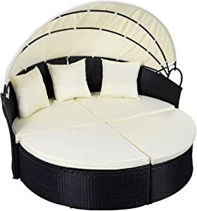 oldzon Outdoor Patio Sofa Furniture Round Retractable Canopy Daybed Black Wicker Rattan with Ebook