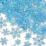 1600 Piezas 3 Tamaño Copo de Nieve Confeti Decoración de Nacidad Copo de Nieve para Navidad Boda Cumpleaño Fiesta Decoración de Mesa Suministro (Copo de Nieve Azul)