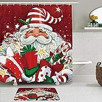 GEEVOSUN シャワーカーテン バスマット 2点セット たくさんの贈り物を持ったお祝いのかわいい漫画のサンタクロースメリークリスマス 自家 寮用 ホテル 間仕切り 浴室 バスルーム 風呂カーテン 足ふきマット 遮光 防水 おしゃれ 12個リング付き