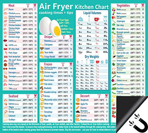 "Air Fryer Accessories Cooking Times Cheat Sheet Kitchen Conversion Chart Fridge Magnet Guide Big Text 9""x10"" Kitchen Gift Recipe Cookbook 90 Foods Pizza Chicken Nuggets French Fries Dessert"