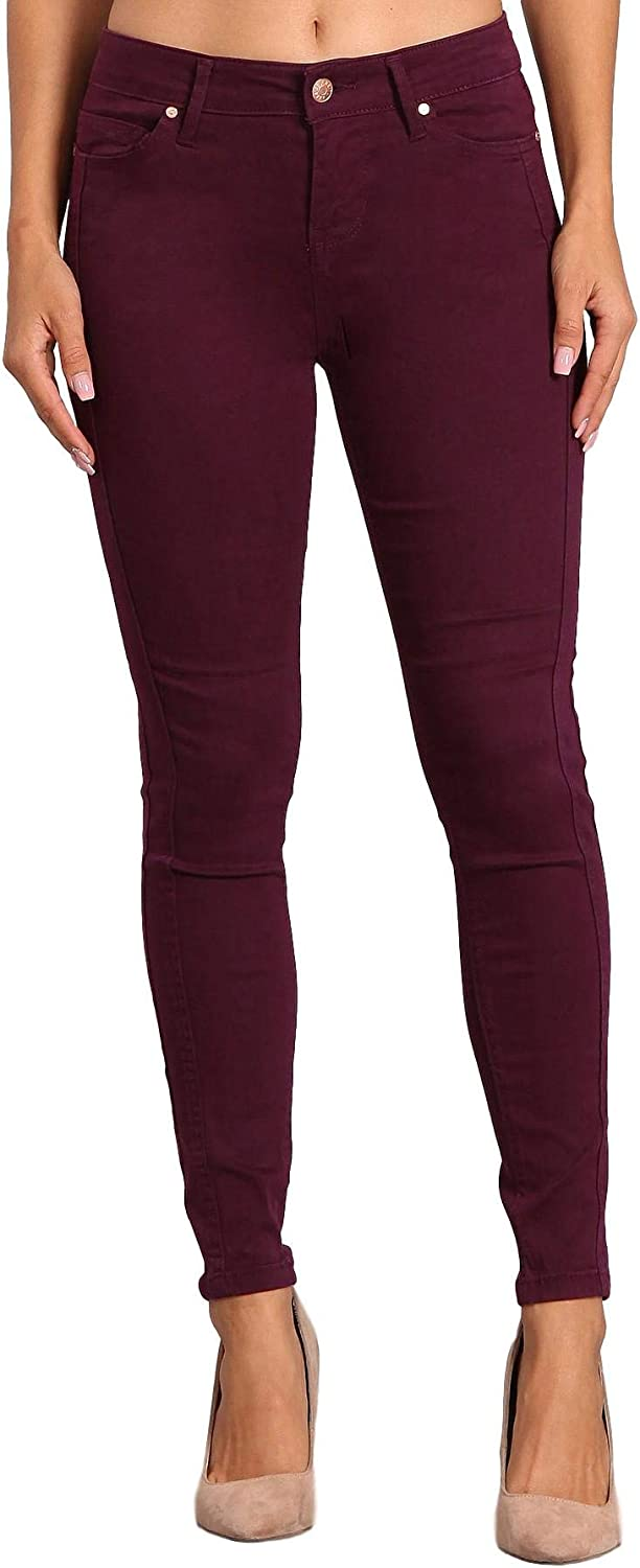 CelebrityPink Women's Mid Rise colord Skinny Double Side Seam Ankle Pants