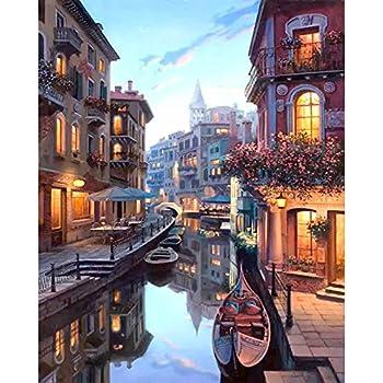 LovetheFamily 数字油絵 数字キット塗り絵 手塗り DIY絵 デジタル油絵 - ベニスの夜景 40x50 cm ホーム オフィス装飾
