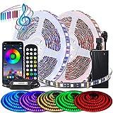 BIHRTC Juego de tiras LED RGB 5050 SMD 10 m 32,8 ft 600 LED banda de luz, tiras de luz con control de aplicación de cambio de color, cadena de luces LED para casa, TV, cocina, fiesta