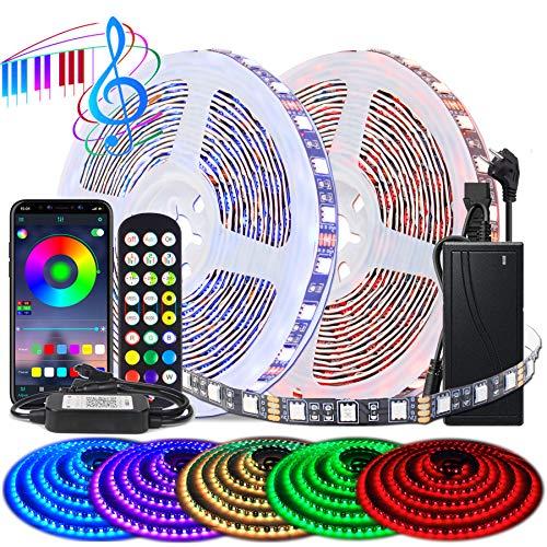BIHRTC RGB LED Streifen Strip Set 5050 SMD 10m 32.8ft 600 LEDs Band Licht Lichtband Lichtstreifen mit App Kontroller Farbwechsel Led Lichterkette für Zuhause TV Küche Party