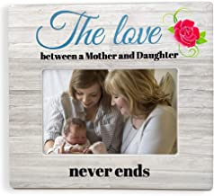 BANBERRY DESIGNS Mother Daughter Picture Frame – The Love Between a Mother and Daughter Never Ends Picture Frame - Mother's Day - 4 X 6 Photo Frame