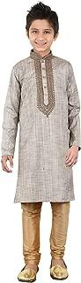 daindiashop-USA Baby/Boy Readymade Kurta Pajama Indian Designer Partywear Dress For Kid In Grey Khadi Cotton