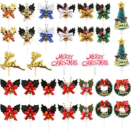 Jovitec Christmas Cake Topper Cupcake Tree Wreath Holly Berries Reindeer Table Centerpieces Sticks in 16 Styles for Christmas Winter Forest Theme Diorama Scenery Birthday Party Favor (16 Pieces)