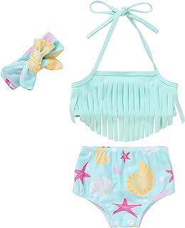 3Pcs Newborn Baby Girls Swimsuit Flamingos Sleeveless Crop Top Ruffle Shorts Hat Summer Bikini Beachwear