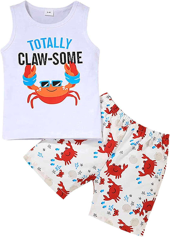 Summer Little Boy Clothes Set Beach Style Outfit MAMA'S Boy Sleeveless Vest Top+Coconut tree Shorts Set Suit 2Pcs
