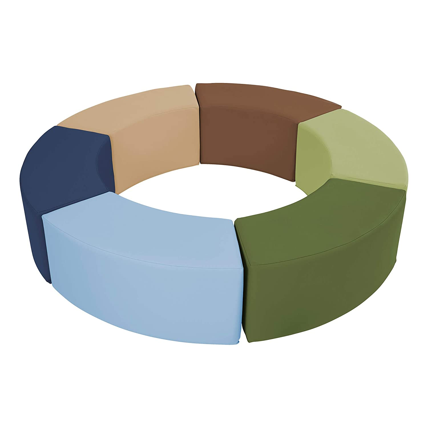 Sprogs Foam Soft Flexible Seating S-Curve Stool Set for Toddlers and Kids- Six Piece Set - Earthtone Assorted Colors (SPG-1520-ET)