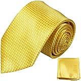 Gelbes Krawatten Set 2tlg schwarz 100% Seidenkrawatte (extra lang 165cm) + Einstecktuch by Paul Malone