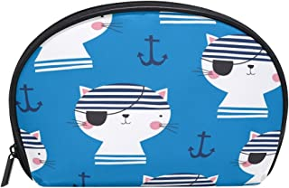 ALAZA Pirate Cat Half Moon Cosmetic Makeup Toiletry Bag Pouch Travel Handy Purse Organizer Bag for Women Girls
