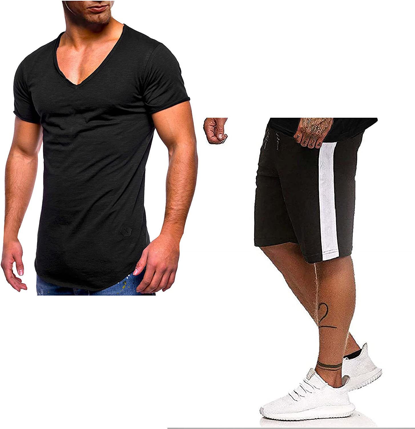 DZQUY Men's Summer 2 Piece Short Outfits Short Sleeve V Neck Workout T-Shirts and Sports Shorts Set Casual Muscle Tracksuit