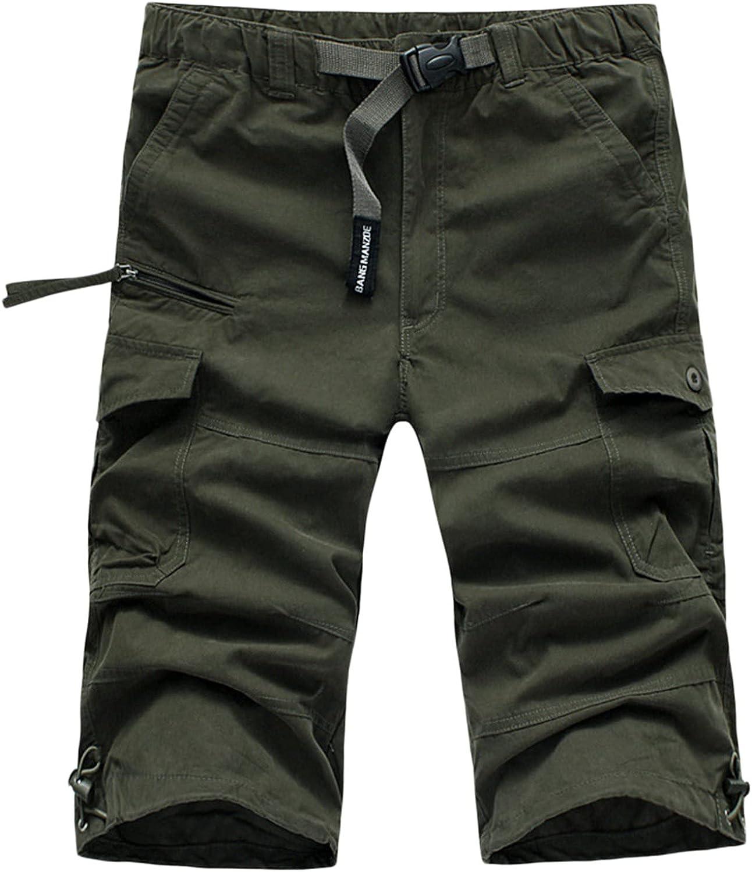2021 Summer Casual Shorts Multi-Pocket Zipper Bandage Cargo Shorts Knee Length Solid Color Short Pants - Limsea