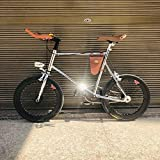 Conveniente Bici Vintage 20 Pulgadas Bicicleta Sola Velocidad Fixie Bike Retro Astilla Marco de Bicicleta Mini Bicicleta con luz (Color : Sliver, Size : 1 Speed)