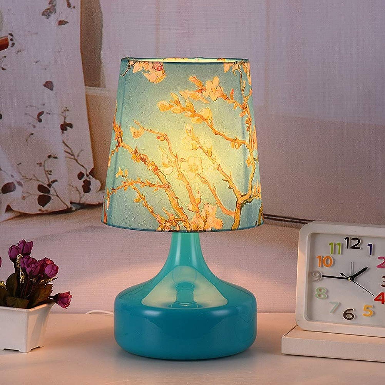 Tischlampe Retro Glas kreative Persnlichkeit Tischlampe mediterranen Stil Stoff Tischlampe Wohnzimmer Studie Schlafzimmer Nachttischlampe E27 gerade offen Schalter (Farbe   1)