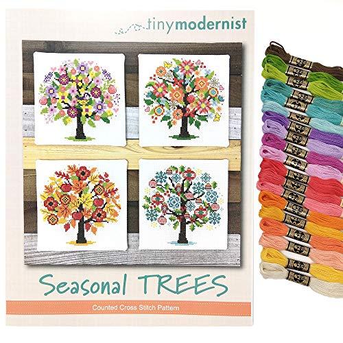 Kreuzstichmuster – saisonale Bäume – mit DMC Sticktwist Strängen – 21-teiliges Set