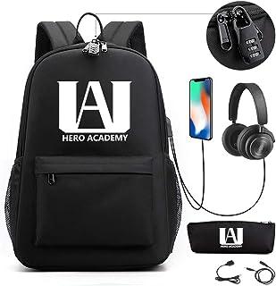 My Hero Academia Mochila Bolsa para Portátil Mochila Luminosa con Estampado de Anime Mochila Escolar para Estudiantes con Puerto de Carga USB, Estuche para Lápices, Cable para Auriculares, Candado