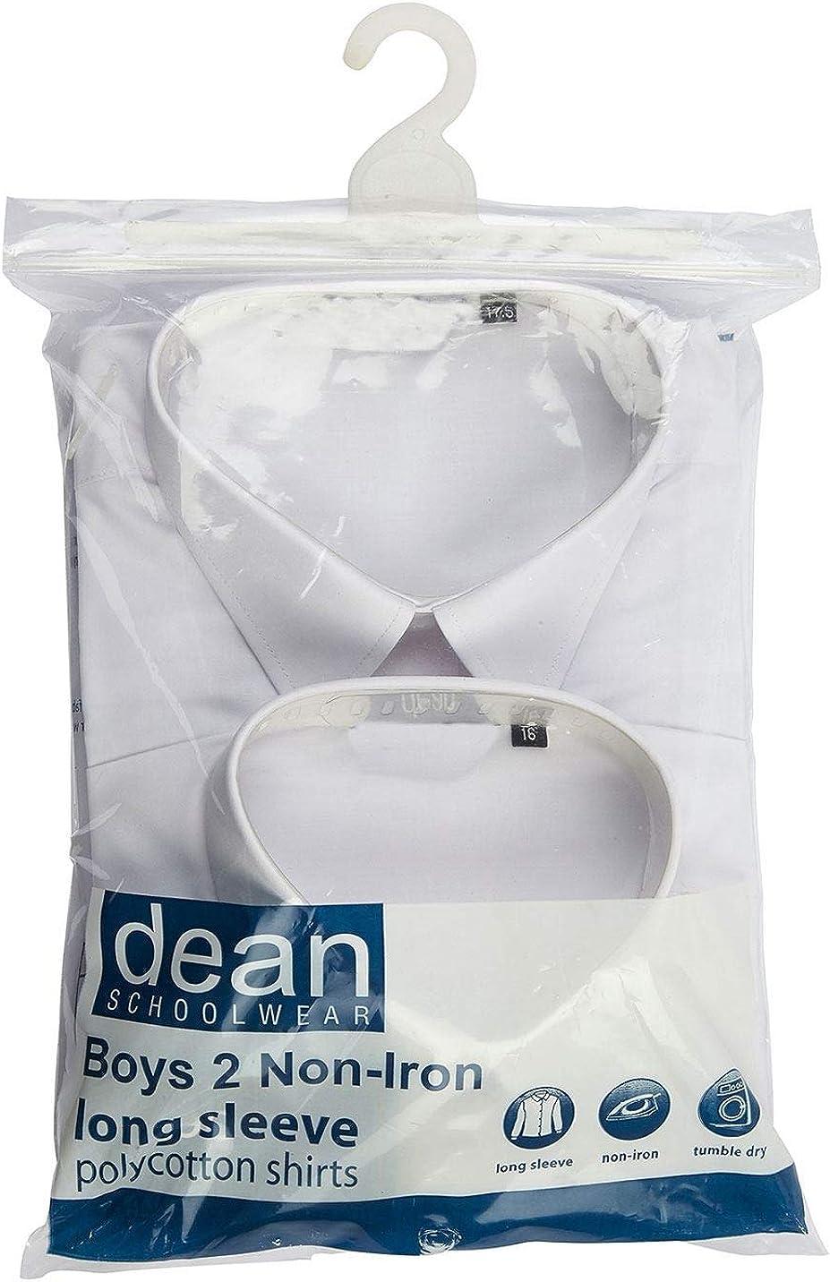 Rimi Hanger Boys School Shirt Pack of 2 Short Long Sleeve Non Iron School Uniform Shirt 11-17.5 Inches Collar