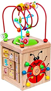 Siveit Wooden Activity Cube, Multifunctional Bead Maze Shape Sorter 6-in-1 Educational Toys for 1 Year Old Boy and Girl Toddlers Gift