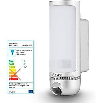 Caméra de surveillance extérieure jour & nuit Bosch Smart Home Eyes (Intelligente & pilotable par smartphone - Caméra de sécurité HD connectée wifi, lumière intégrée)