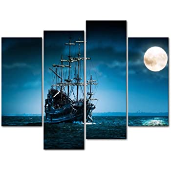 Ship on the Blue Ocean in the Full Moon Night Canvas Print Wall Art Decor Seascape Artwork Prints for Home Living Room or Office Decoration
