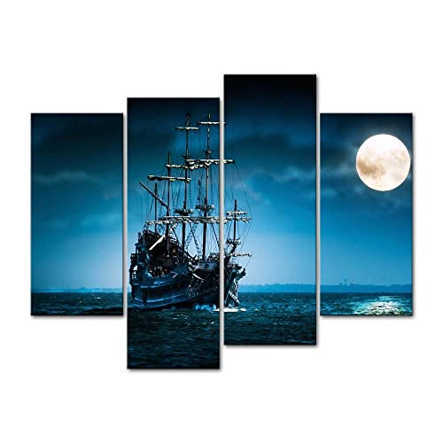 Sail Ship In The Moonlight Adventure Travel Ocean Poster Sea Boat Picture Print