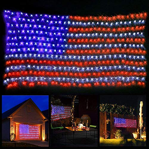 YJFWAL American Flag Lights with Super Bright LEDs,Waterproof Led Flag Net Light of The United States for Yard,Garden Decoration, Festival, Holiday, Party Decoration,Christmas Decorations