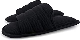 Ofoot Women's Knitted Breathable Cotton Slip on Slippers Open Toe, Soft Cozy Memory Foam Indoor Sandals Shoes (Small / 4.5-5.5 B(M) US, Black)