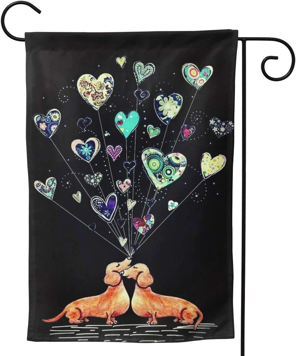 Love Dachshund Valentine's Day Small Garden Flag Vertical Double Sided 12.5 X 18 28 X 40 Inch Floral Farmhouse Yard Outdoor Deco