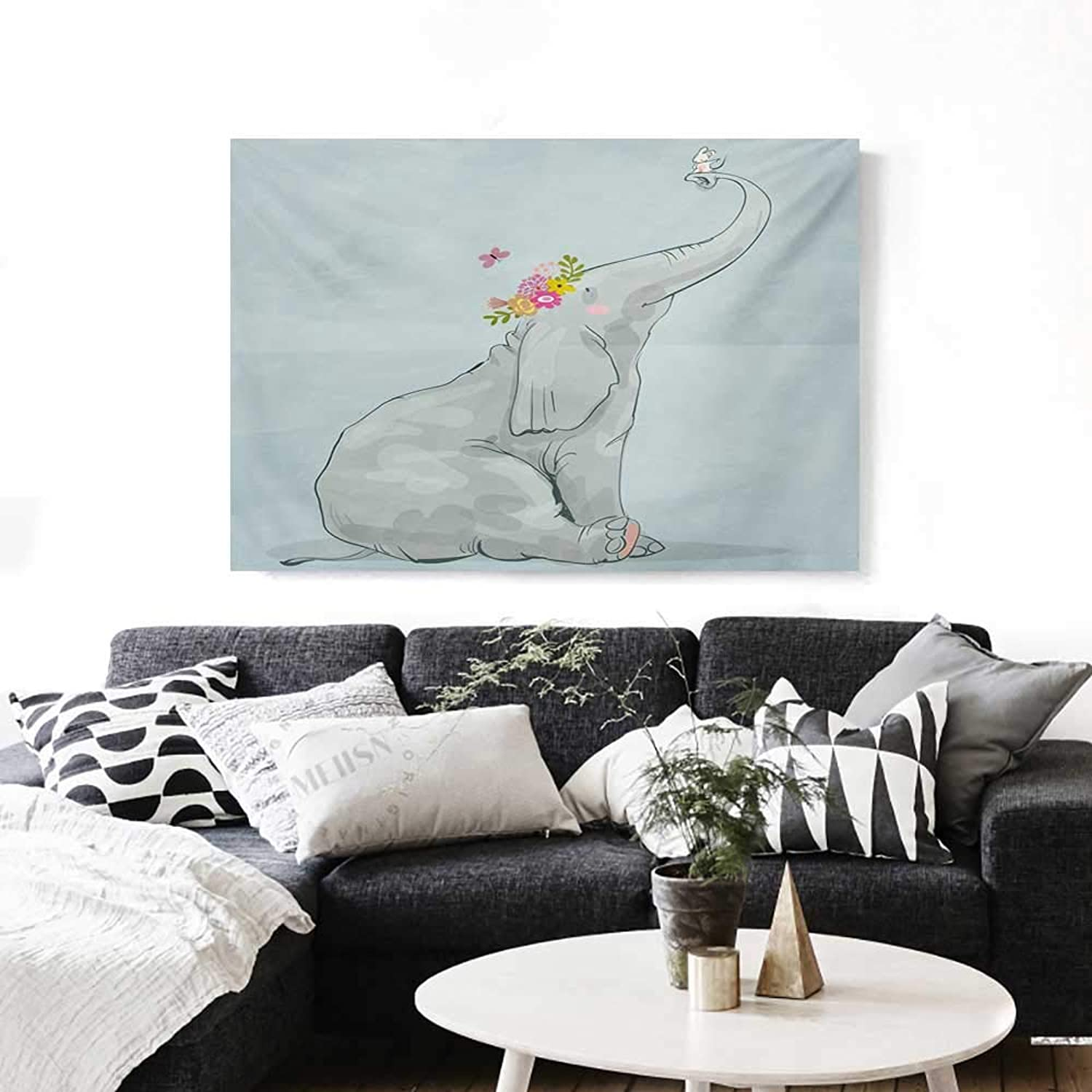 Elephant Nursery Canvas Wall Art for Bedroom Home Decorations Elephant and Little Mouse Friendship Fun Art Hand Drawn Flowers Design Art Stickers 48 x32  Multicolor