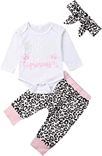 Daddy´s Little Princess Clothes,Newborn Baby Girl Top and Leopard Pants with Headband 3Pcs Outfits Set