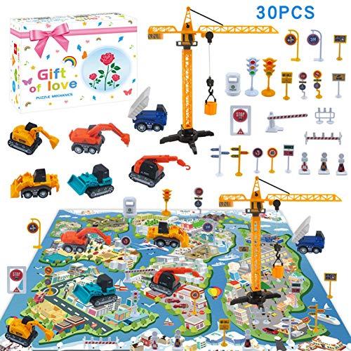 Wenhe Vehículos de construcción Safe Fun Pull Back Engineering juguete de coche con alfombrilla de juego Bulldozer excavadora, modelos para niños, niñas, niños y niños pequeños