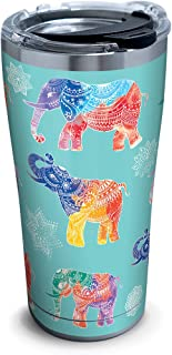 Tervis 1261337 Mehndi Elephants Stainless Steel Tumbler with Clear and Black Hammer Lid 20oz, Silver