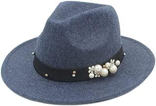 SHENTIANWEI Authentic Men Women Fedora Hat with Pearl Pop Panama Hat Church Hat Wide Brim Jazz Fascinator Hat Size 56-58CM