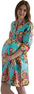 My Growing Belly Turquoise Blue Maternity Robe - Perfect as Hospital Gown, Labor Birthing Gown, Nursing Robe