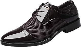 HLIYY Chaussures de Ville à Lacets Homme Classique Oxford Lacets en Cuir pour Conduite Occasionnelle Mocassins Affaires Co...