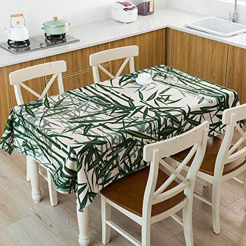 XIAOBAO Tablecloth wipe clean,Green tropical plant leaf tablecloth, linen waterproof tablecloth-15_140*140cm,Square Wipeable Faux Table