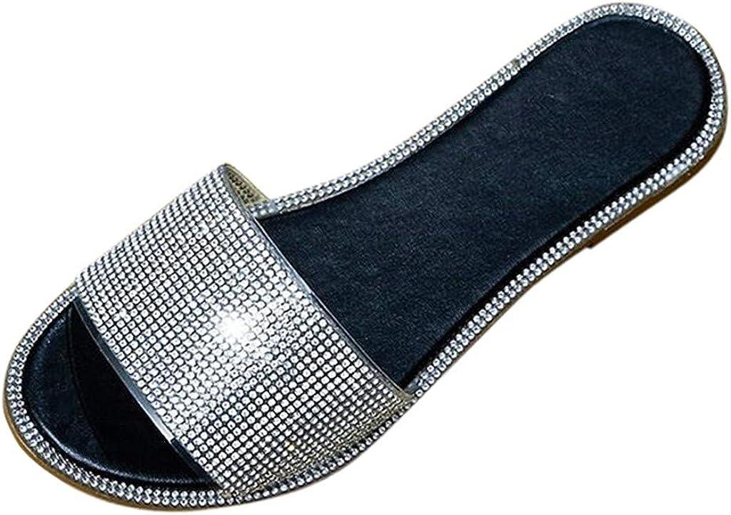 Women's Flat Slippers Roman Style Rhinestone Sandals 2021Summer Peep-Toe Slides Slip On Shoes Outdoor Beach Shoes