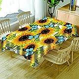 Mantel Estampado Girasol Mantel Flor Amarilla Adecuado para Fiestas Hogar Mesa Redonda Rectangular Lavable Termoaislante Y Resistente Al Calor Mantel Redondo