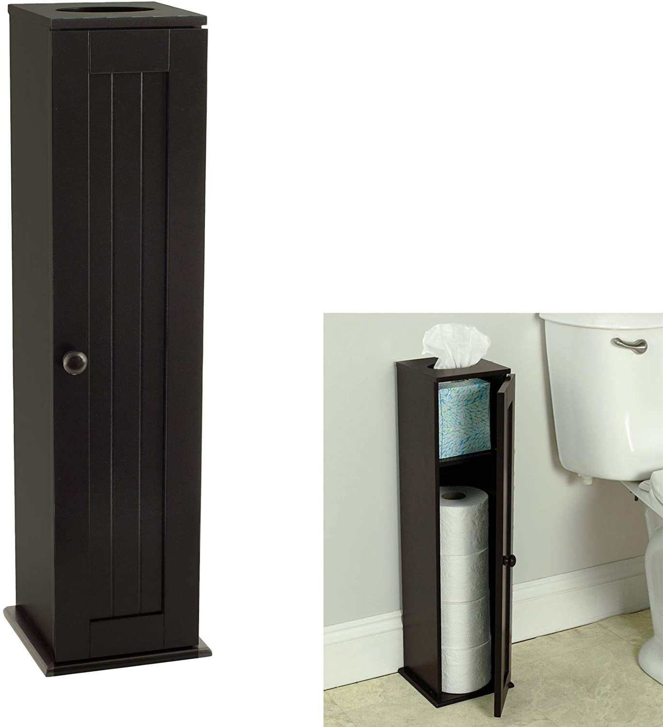 Free Standing Espresso Toilet Bathroom Paper Deluxe Holder Los Angeles Mall Cabinet