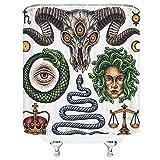 Feierman Medusa Duschvorhang Schlange Schaf Schädel griechische Mythologie Badezimmer Vorhang 70x177,8 cm Stoff wasserdicht Polyester mit Haken