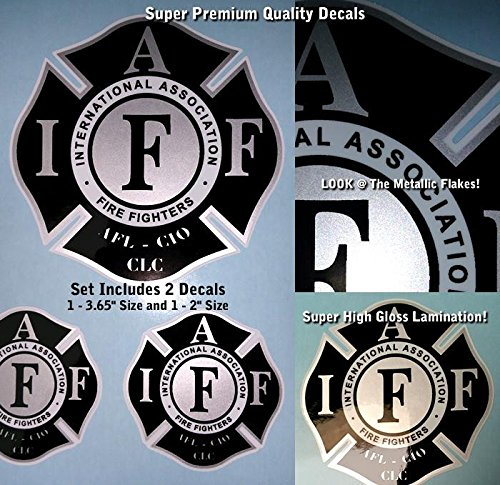 IAFF Firefighter Decal Kit 2pcs Silver Metallic Black High Gloss UV Lamination 0016