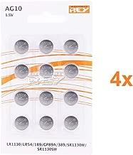 Pack de 48 Pilas AG10 1.5V Tipo Botón de Litio, LR1130, LR54, 189, GP89A, 389, SR1130W, SR1130SW, Electrónica Rey®