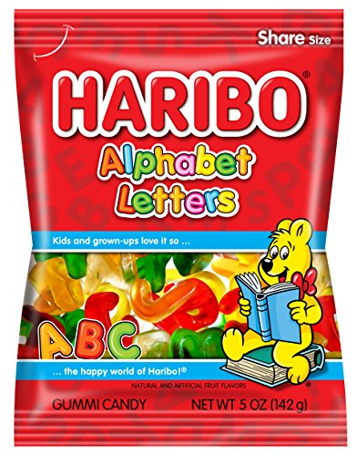 Haribo Gummi Candy, Alphabet Letters, 5 oz. Bag (Pack of 12)