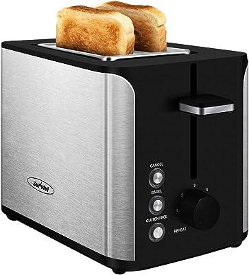tostador de pan de 2 rebanadas, de acero inoxidable, tostador con ranura extra ancha con función de cancelación sin gluten de bagel, ajuste de 6 tonos, color negro