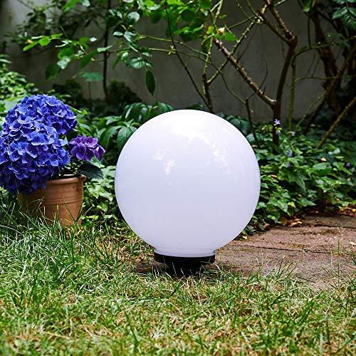 Solarleuchte Campinas, Kugelleuchte aus weißem Kunststoff, Kugellampe Ø 30 cm mit ausziehbarem Erdspiess, Außenleuchte mit Ein/Aus-Schalter, Solarlampe 3000 Kelvin (warmweiß)