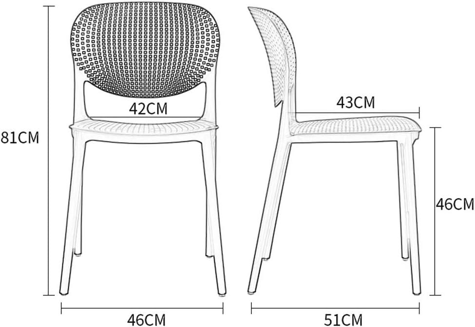 Chaise de dossier en plastique minimaliste en plastique à manger chaise adulte chaise créative de mode salon chaise café (Couleur : Yellow) Gray