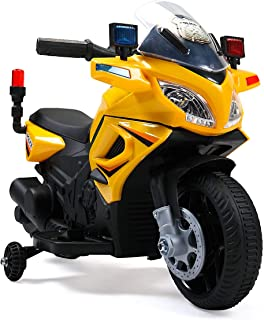 BWM.Co Kids Ride On Police Motorcycle 6V Toy Battery Powered Electric 4 Wheel Bicycle Yellow